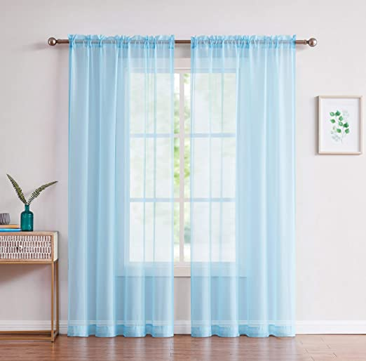 New 2 Pc Sheer Voile Window Curtain Panel Set Turquoise Fast Free Shipping