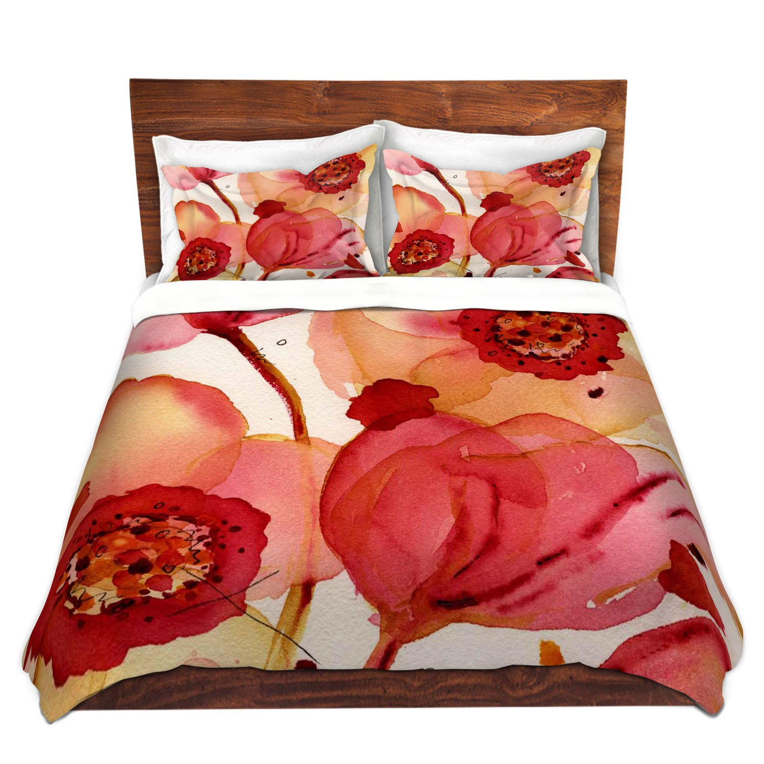 DiaNoche Designs Dawn Derman-Poppies Brushed Twill Unique Home Decor Bedding Cover, 7 Queen Duvet Sham Set