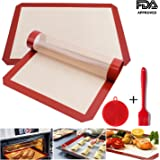 """Ousum Silicone Baking Mat Sheet Non Stick 4 Pack Cookie Mat for Bake Pans & Rolling - Macaron/Pastry/Cookie/Bun/Bread Making Heat Resistant 16 1/2"""""""" x 11 5/8 Professional FDA Approved Food Silicone"""