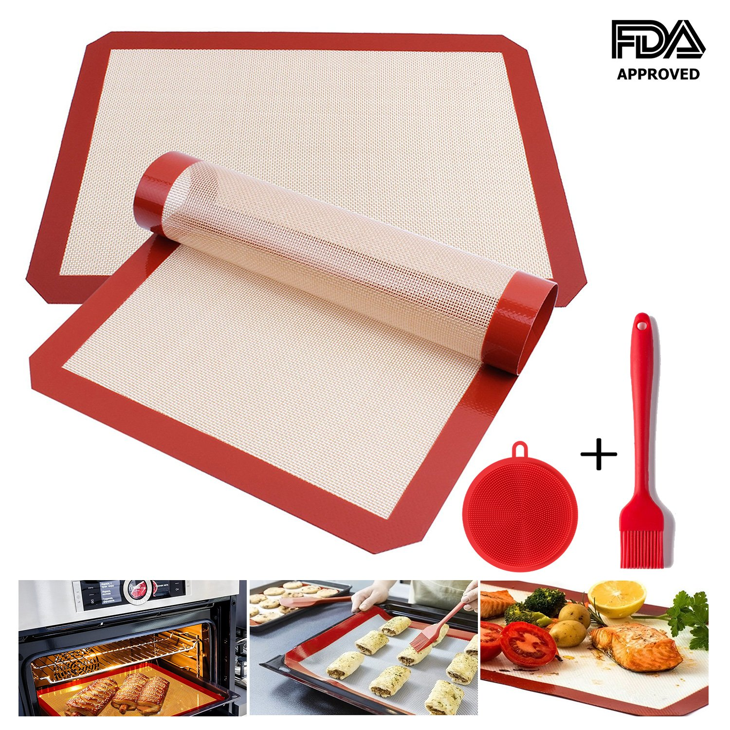 Ousum Non Stick Silicone Baking Mats Set of 4 Pack Heat Resistant 16 1/2'''' x 11 5/8 Professional FDA Approved Food Silicone