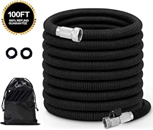 Cosylifee Garden Hose 100 ft Expandable Water Hose with Anti-Rust Solid Brass Fittings, Extra Strength Fabric No-Kink Flexible Expanding Hose Heavy Duty Shut Off Valves with Storage Bag, Black