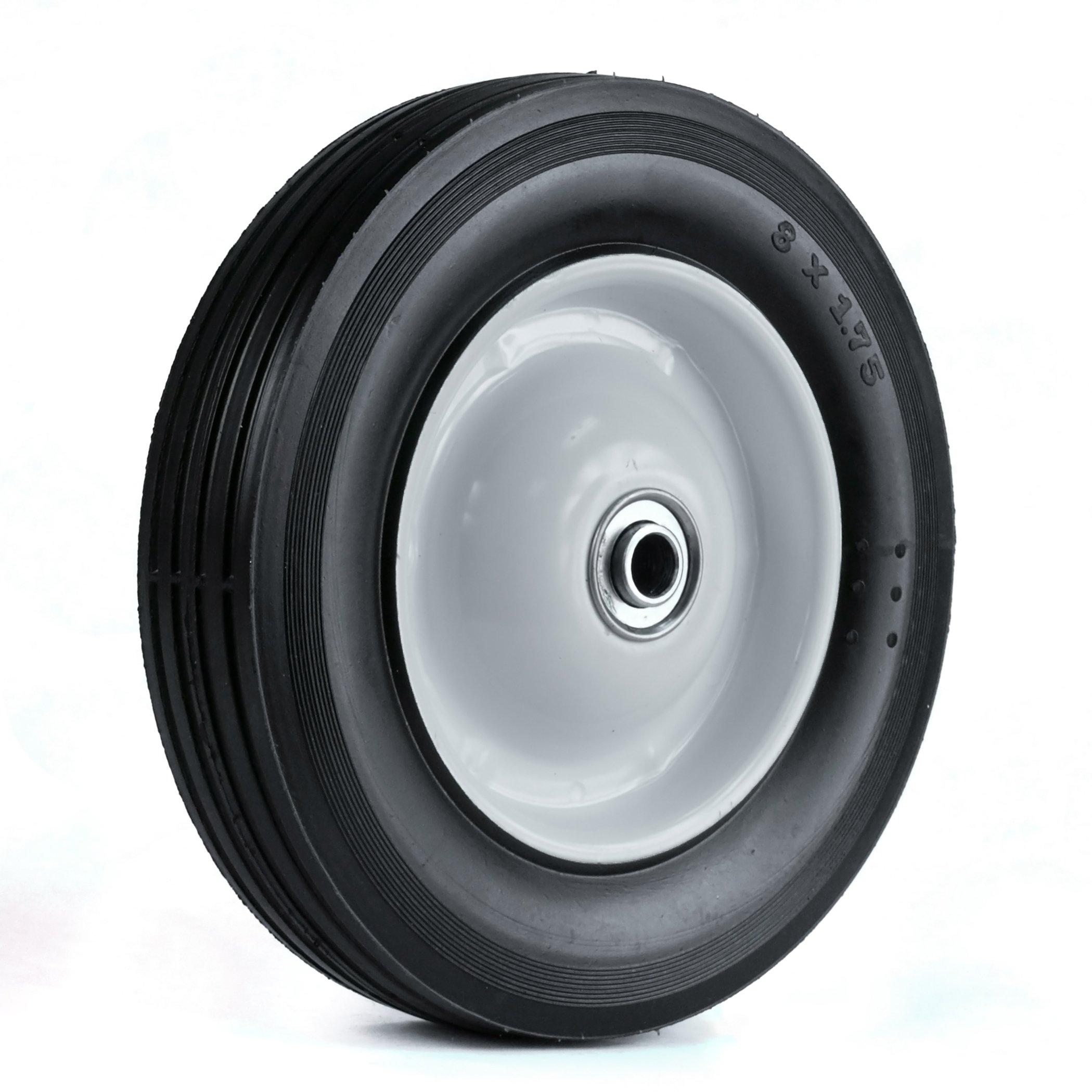 Martin Wheel 875-OF-R 8 by 1.75-Inch Light Duty Steel Wheel for Lawn Mower, 1/2-Inch Ball Bearing, 1-3/8-Inch Offset Hub, Rib Tread