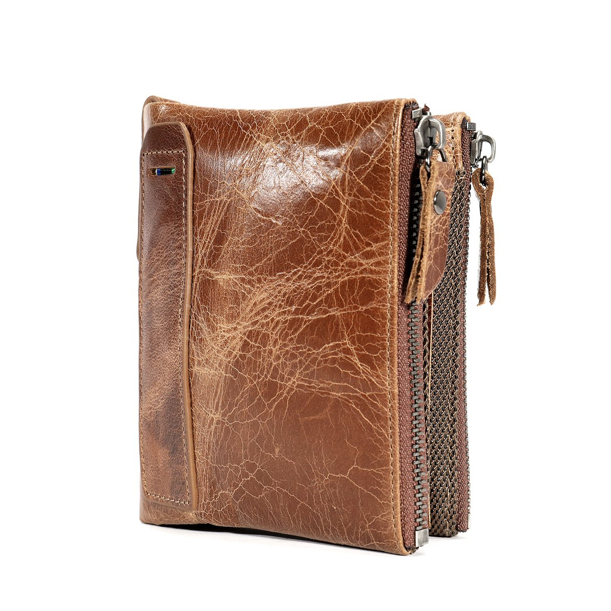 Mens Vintage Genuine Leather Minimalist Front Pocket Bifold Wallet With Zipper Coin Pockets Brown