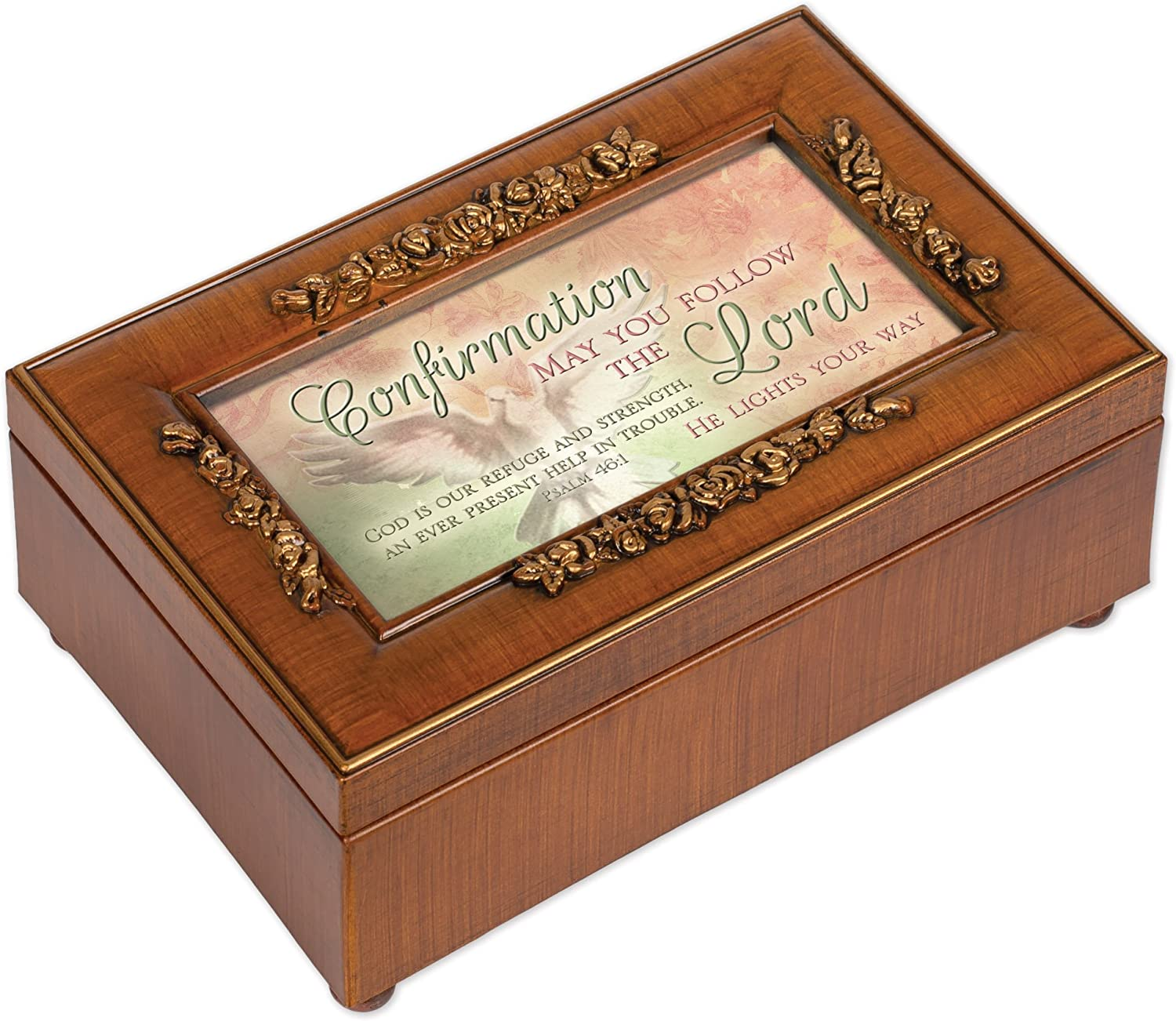 Cottage Garden Confirmation Follow The Lord Woodgrain Embossed Jewelry Music Box Plays Amazing Grace