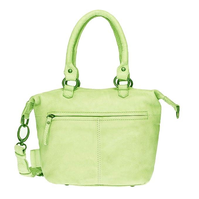 d83f0c688df94 VOi Damen Mini Shopper 21074 Leder Handtasche Henkeltasche Vintage  Ledertasche Schultertasche Kiwi Grün  Amazon.de  Bekleidung