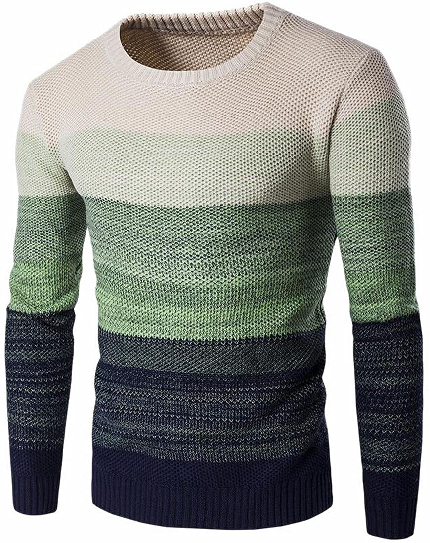 HTOOHTOOH Mens Colortone Thick Knitted Crewneck Warm Cozy Pullover Sweaters