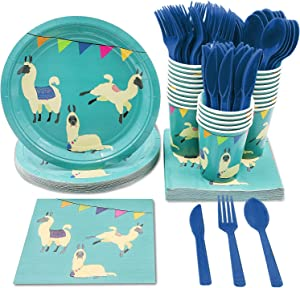 Llama Birthday Party Bundle, Includes Plates, Napkins, Cups, and Cutlery (Serves 24, 144 Pieces)