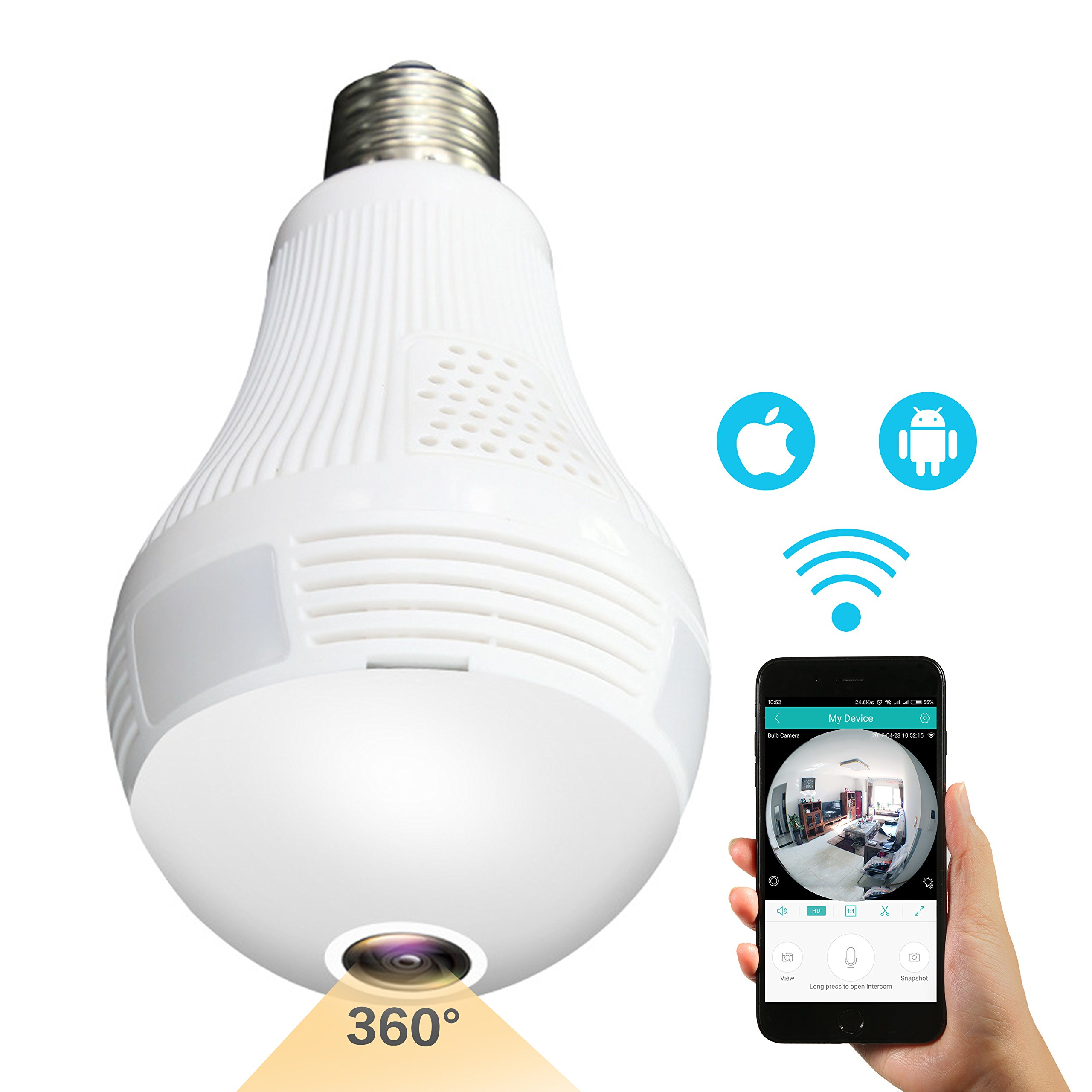 Sheenwang Wireless Security Camera Bulb, LED Light Bulb Camera Panoramic IP Camera with 360 Degree Fisheye Lens & Timing Function- Home Security System for iOS/Android APP Remote Control