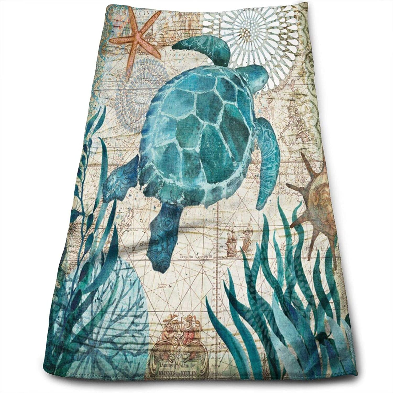 MSGUIDE Vintage Ocean Sea Turtle Starfish Map Hand Towels for Bathroom Clearance Decor Face Towels Microfiber Towels Soft Fingertip Towel for Gym Yoga Spa Pool Sport Hotel