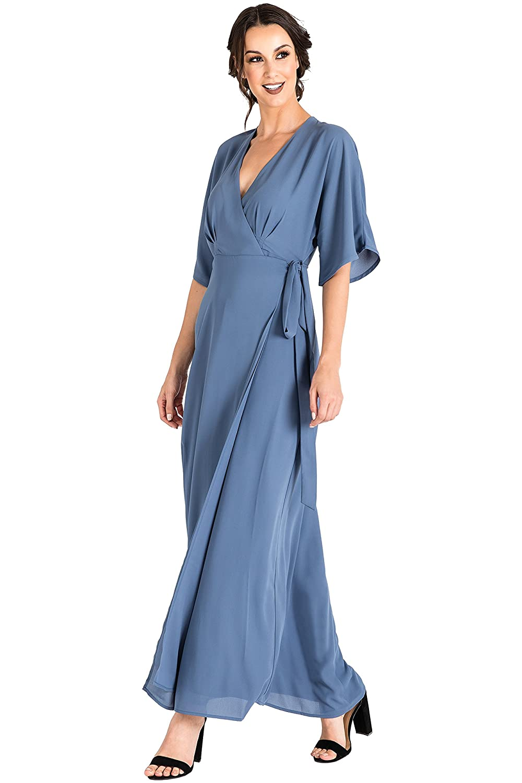 6a114c2d9defd Standards & Practices Modern Women's Blue Woven Chiffon Kimono Wrap Maxi  Dress Size L at Amazon Women's Clothing store:
