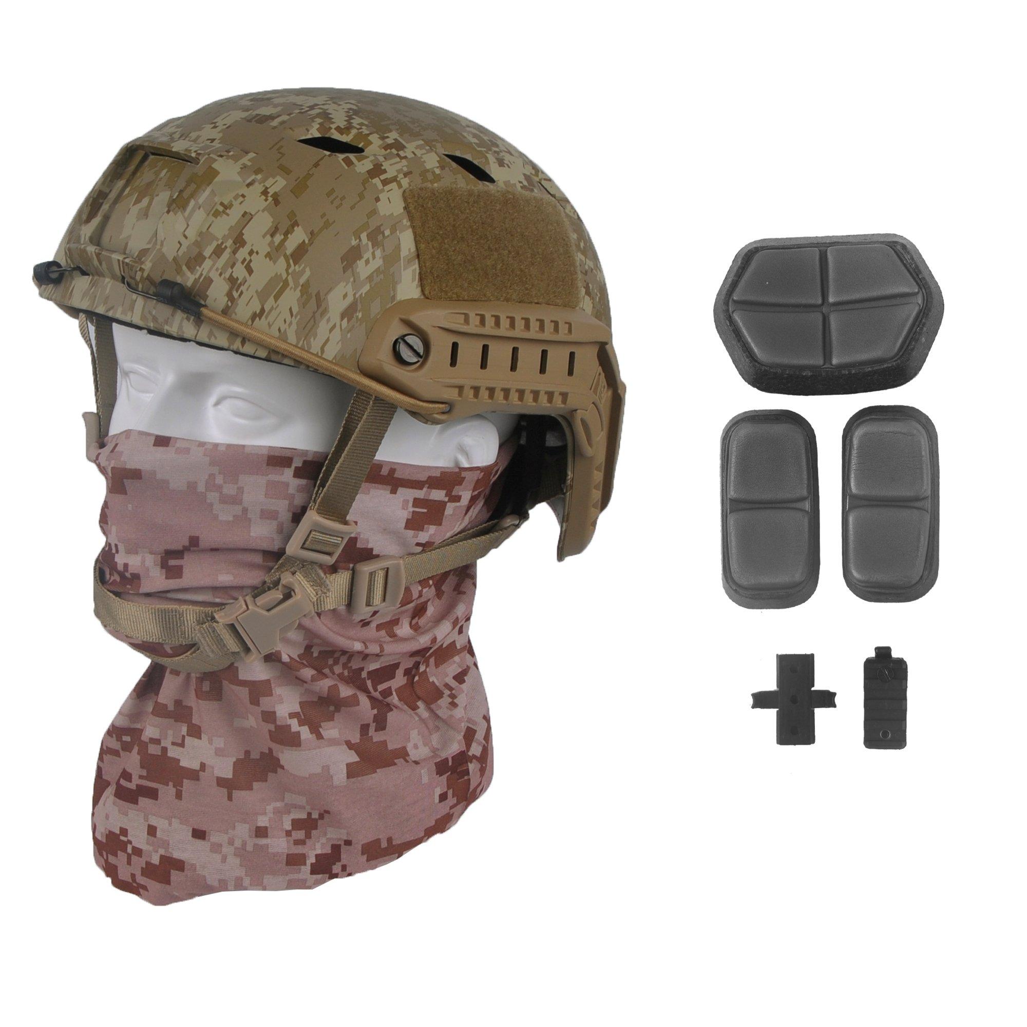 LOOGU Fast BJ Base Jump Military Helmet with 12-in-1 Headwear (AOR1) by LOOGU