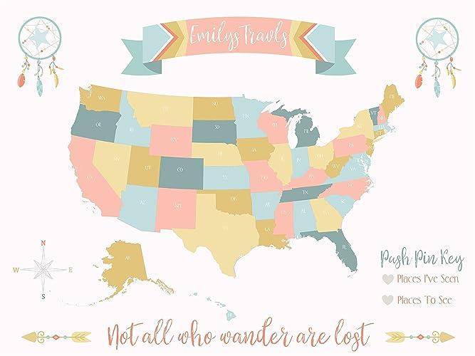 Amazon.com: USA Map Personalized Push Pin Map On Canvas Boho ...