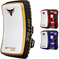 Mytra Fusion Thai pad Kick Shield MMA Kickboxing Muay Thai Training pad arm pad Strike Shield (White Gold)
