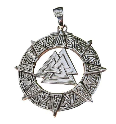 Amazon 925 silver valknut triquetra triangle norse viking 925 silver valknut triquetra triangle norse viking celtic odin pendant necklace aloadofball Gallery