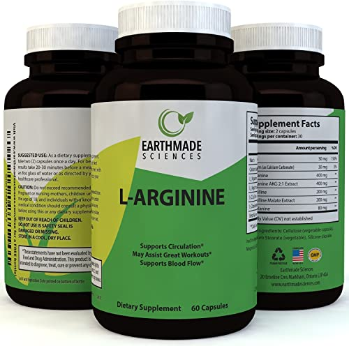 L-Arginine Supplement Workout Enhancer Amino Acid – Natural Muscle Builder and Endurance Booster Superior Performance Pure L-Arginine Capsules Nitric Oxide Blast Support – by Earthmade Sciences