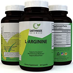 L-Arginine Supplement Workout Enhancer Amino Acid - Natural Muscle Builder and Endurance Booster Superior Performance Pure L-Arginine Capsules Nitric Oxide Blast Support - by Earthmade Sciences