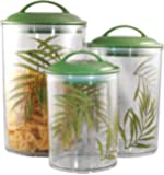 Corelle Coordinates by Reston Lloyd Acrylic Storage Canisters, Set of 3, Bamboo Leaf