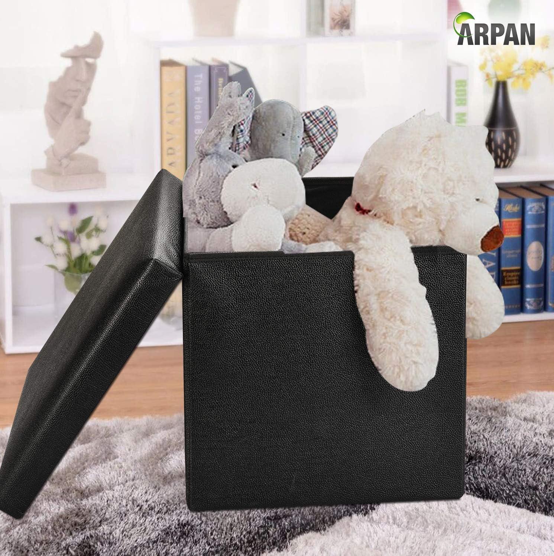 Negro, Piel sint/ética ARPAN Otomano Deluxe Manta de Almacenamiento Caja de Juguetes Taburete Plegable Asiento Suave Acolchado