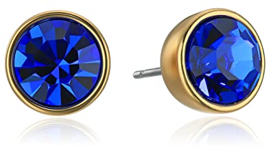 cooee blue design earrings products circle stud mirror bla