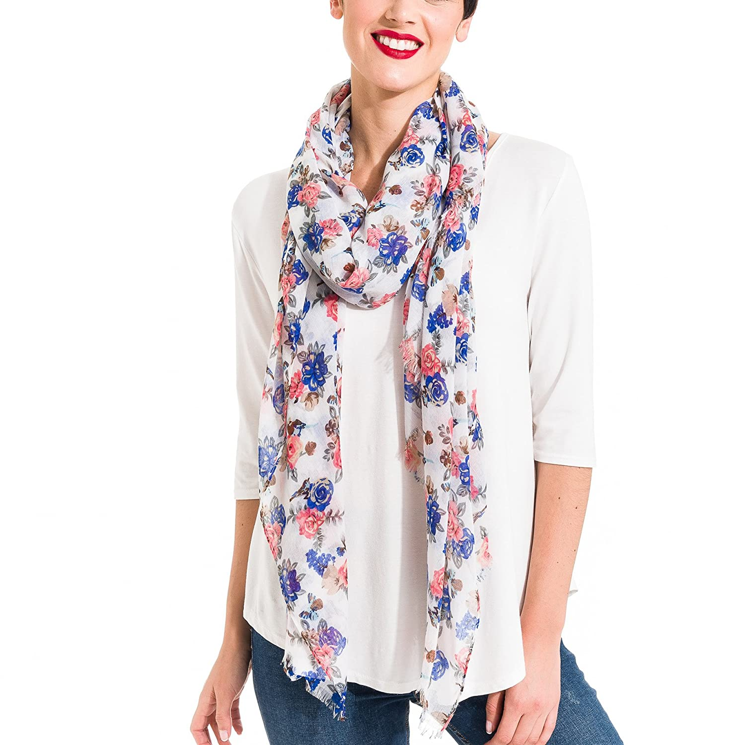Scarf for Women Lightweight Floral Flower Fashion Fall Winter Scarves Shawl Spanish Designer Collection