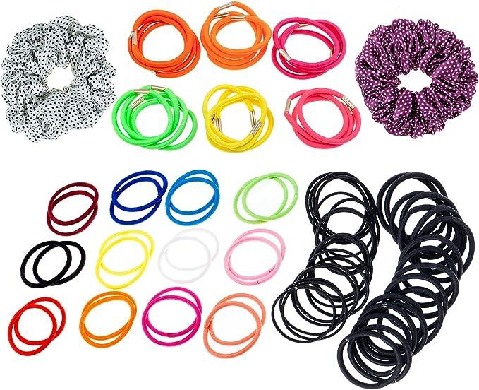 VAGA Pack de 86 suaves scrunchies, ligas para el pelo, coleteros ...