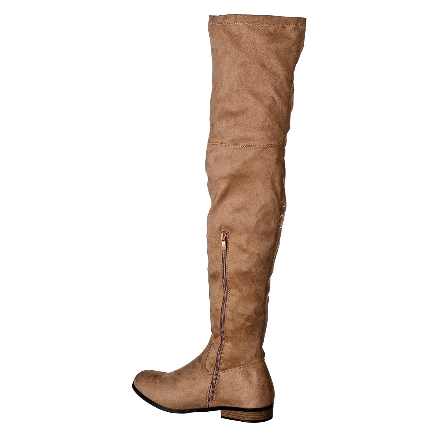 6aef4a0a099bf Amazon.com | Riverberry Women's Gina Thigh-High, Heeled Faux Suede Boots |  Over-the-Knee