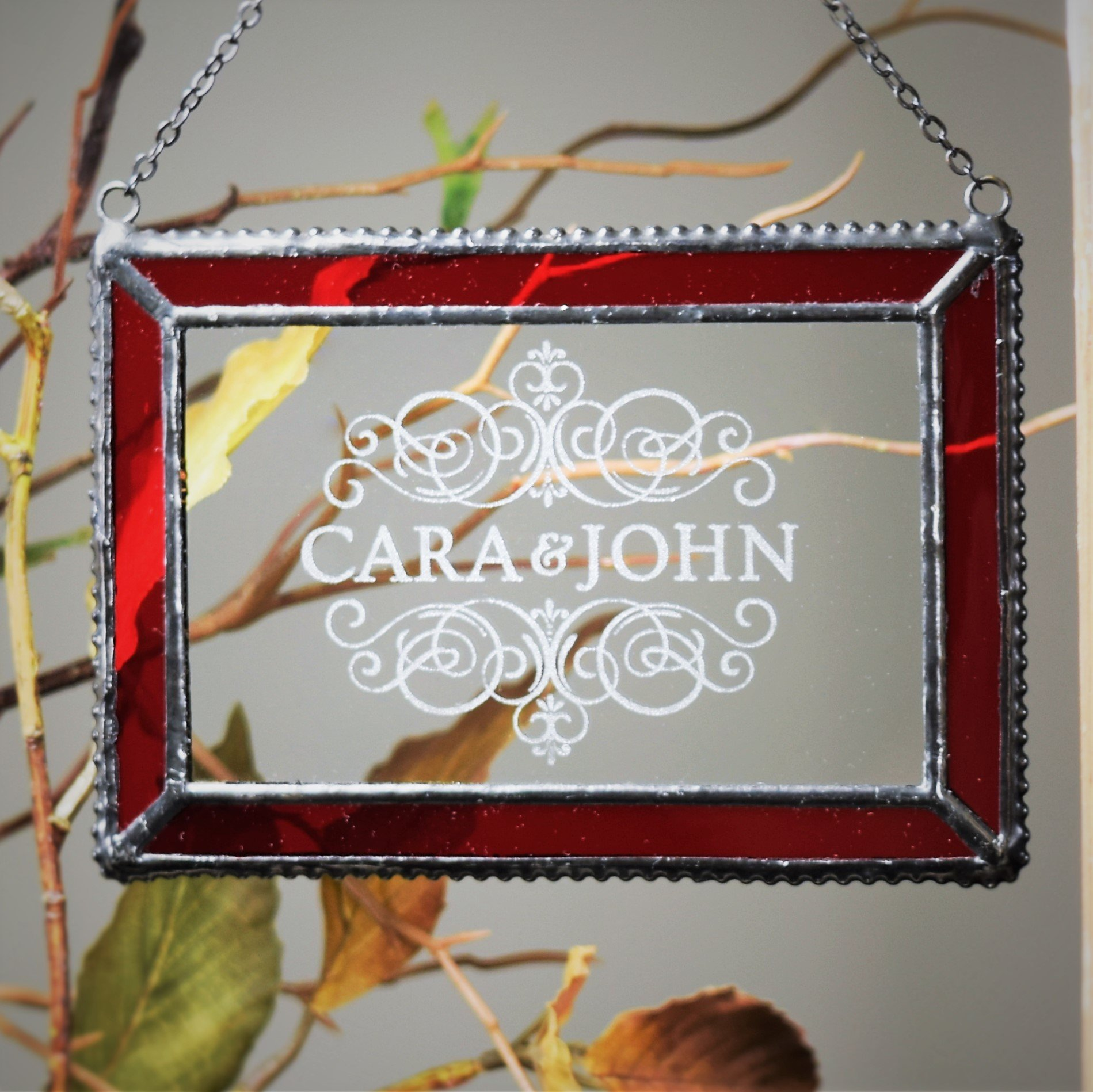 J Devlin Orn 266-1 EO106 Red Personalized Stained Glass Ornament or Window Sun catcher for Our First Christmas