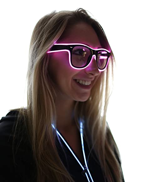7c6149e66e73 Amazon.com  Electric Styles Light Up El Wire Glasses (Pink)  Clothing
