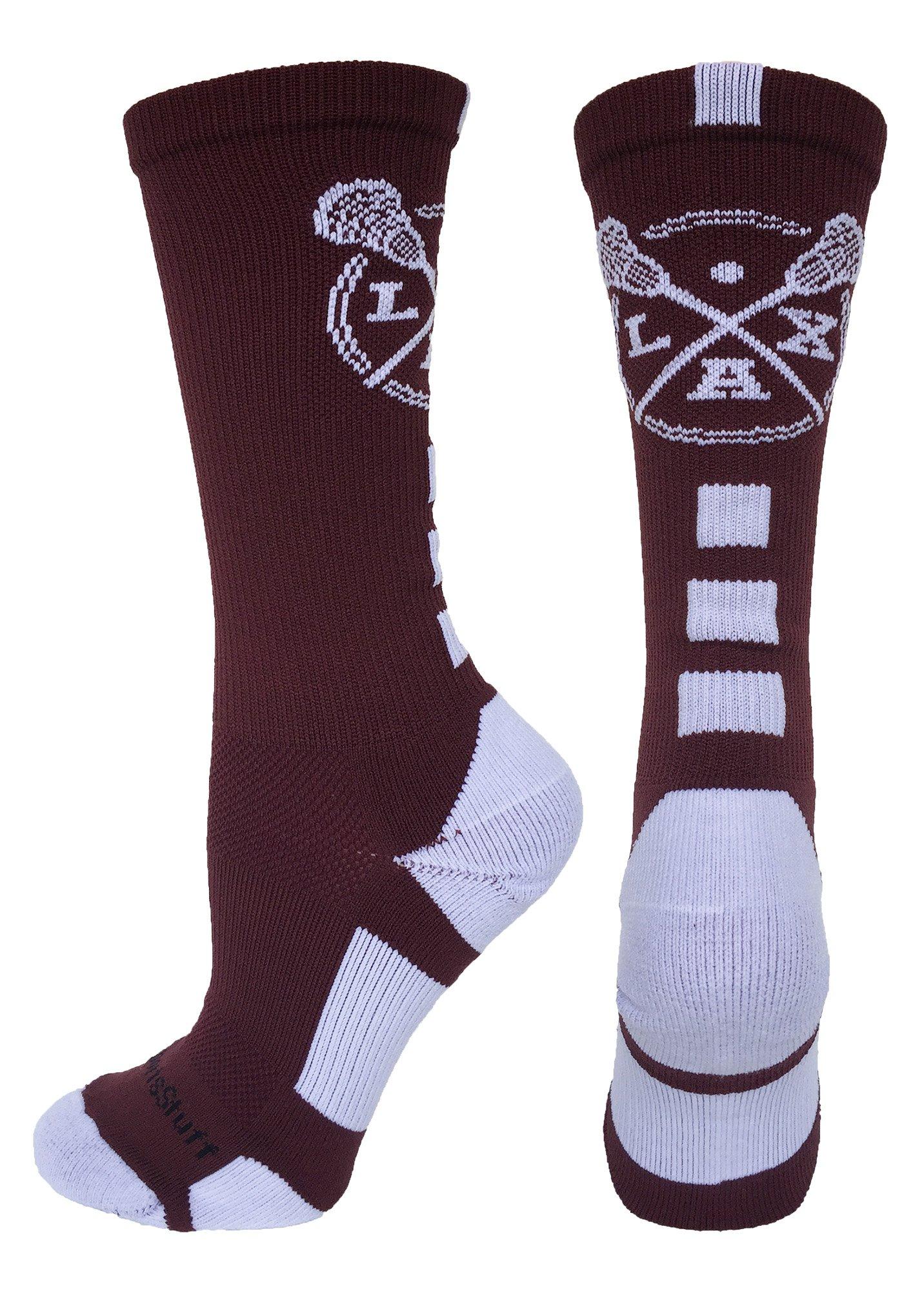 LAX Lacrosse Socks with Lacrosse Sticks Athletic Crew Socks (Maroon/White, Medium) by MadSportsStuff