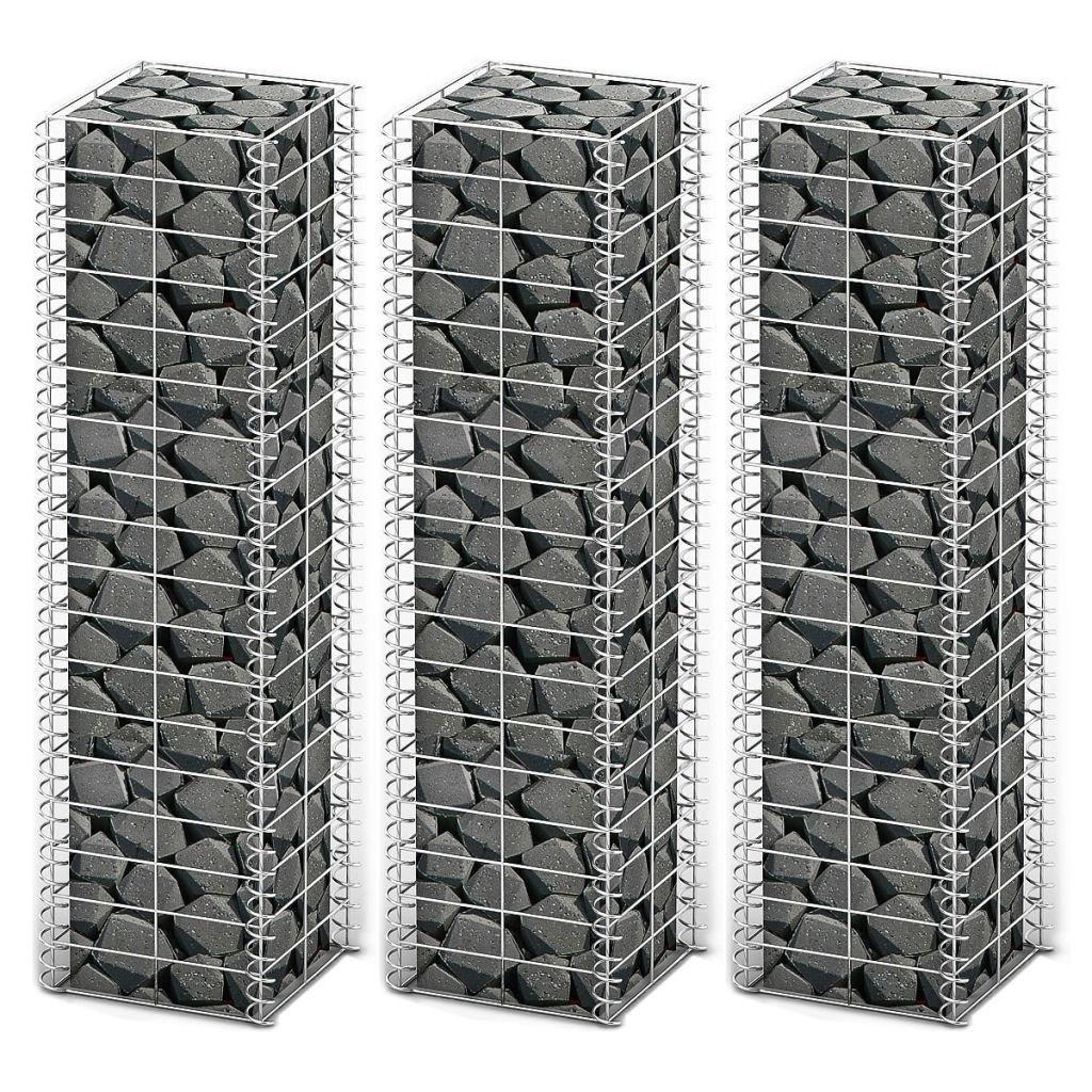 vidaXL 3x Gabions Retaining Wall Gardens Edging Cage Basket Gabion Walls 39.4''