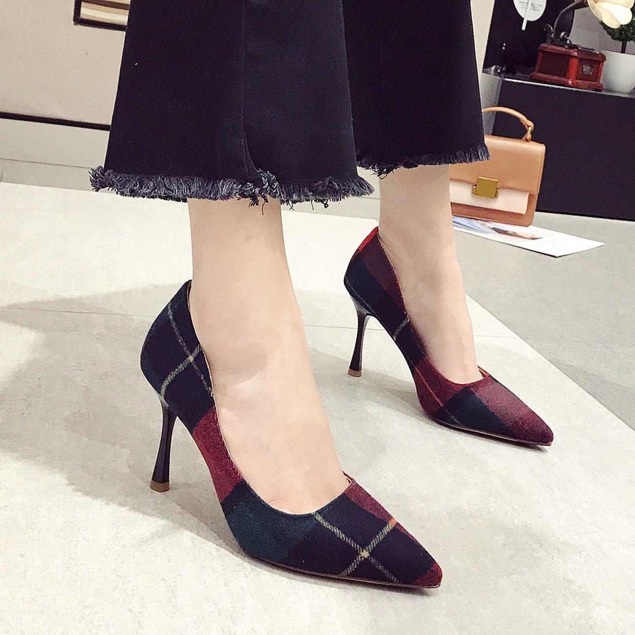 Olici MDRW-Lady Elegant Arbeit Freizeit Feder Fein High Mit 9 cm High Fein Heels Schuhe Farbe Wies Einzelne Damen All-Match Rote Schuhe bfb8ed