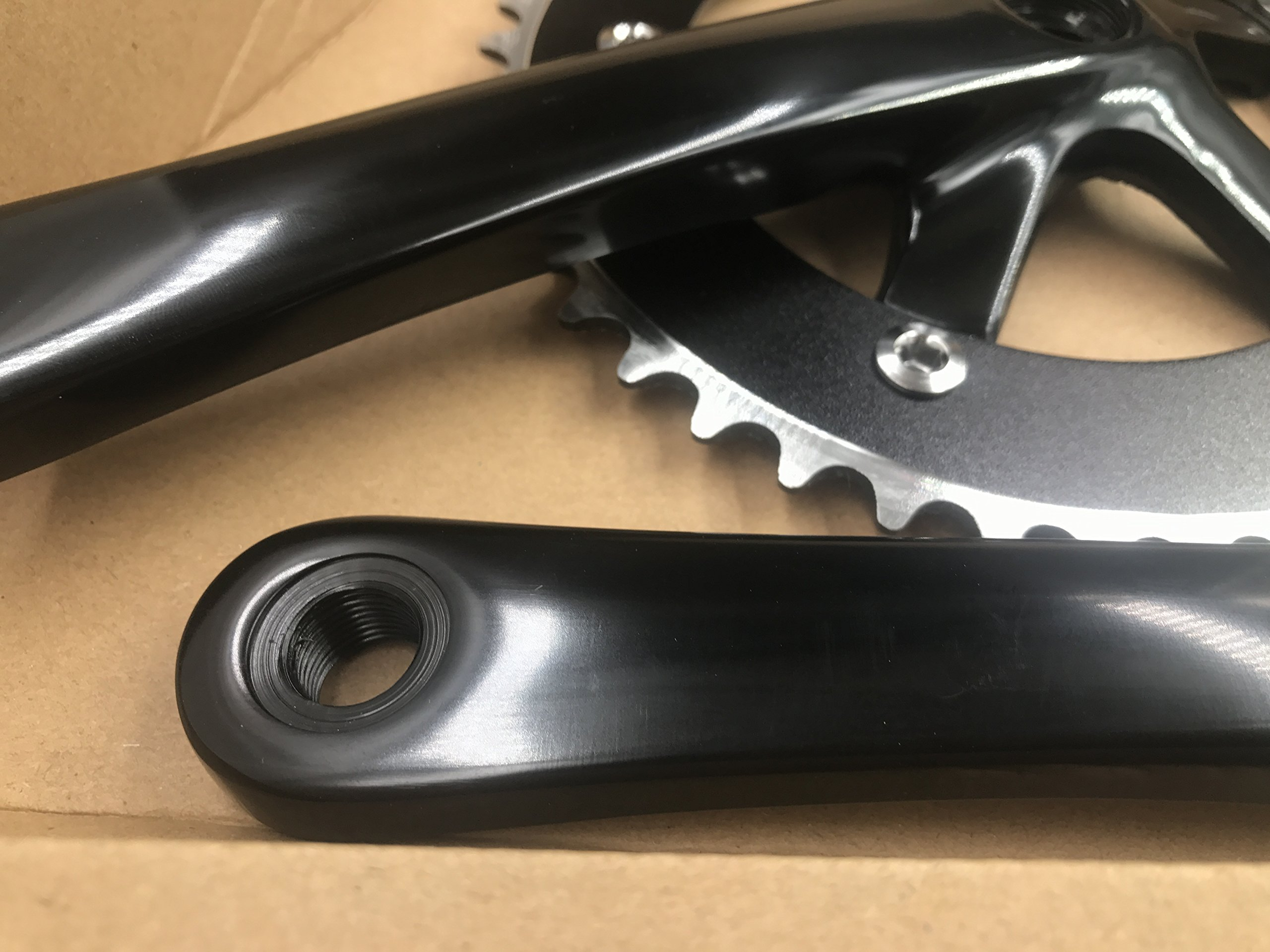 Single Speed Crankset 44T 165mm Crankarms 130 BCD Crankset for Mountain Road Bike Fixed Gear Bicycle(Square Taper, Black) (44T, Sprocket) by CDHPOWER (Image #3)