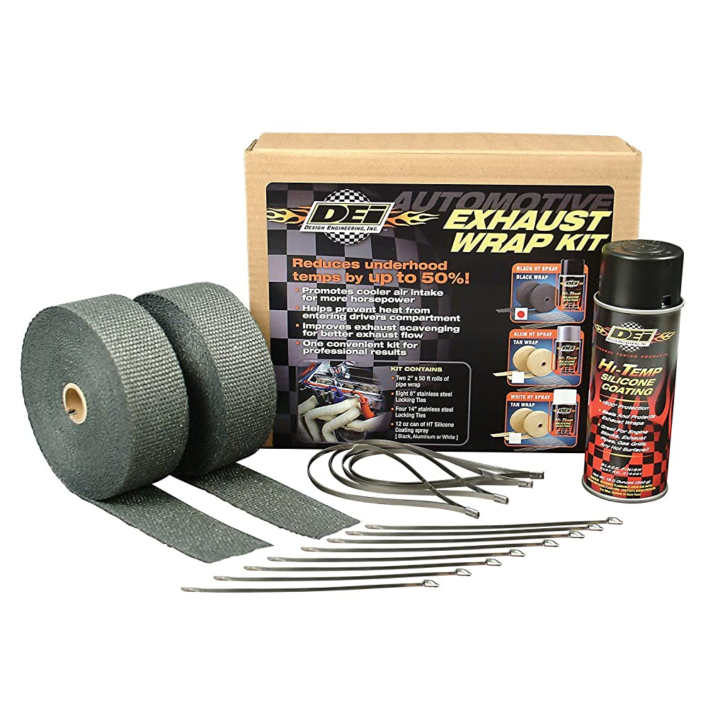 DEI 010110 Exhaust / Header Wrap Kit with Hi-Temp Silicone Coating Spray - Black Wrap / Black Spray
