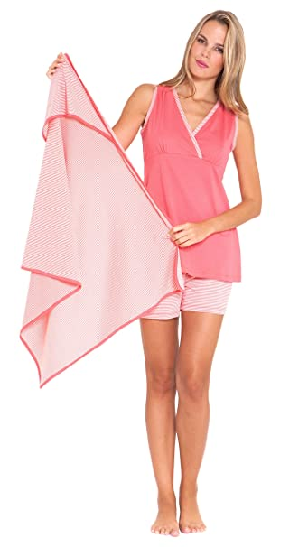 74a14656f234b Olian Anne 3 Piece Mom and Baby Maternity Nursing Short Pajama Gift Set  (Large, Pink) at Amazon Women's Clothing store: