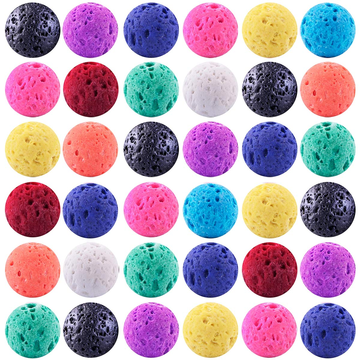 Color Lava Stone Beads Mixed Box Kit 200pcs 8mm Round Loose Chakra Rock Beads Random Color for Essential Oil Yoga Diffuser Bracelet Necklace Jewelry Making (Color Lava Stone Beads Mix Kit) by Cmidy