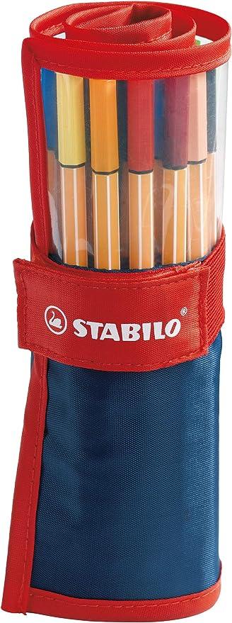 Rotulador puntafina STABILO point 88 - Estuche premium de tela Rollerset con 25 colores: Amazon.es: Oficina y papelería