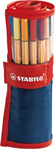Stabilo Point 88 Fineliner Pens, 0.4 mm - 25-Color Rollercase Set