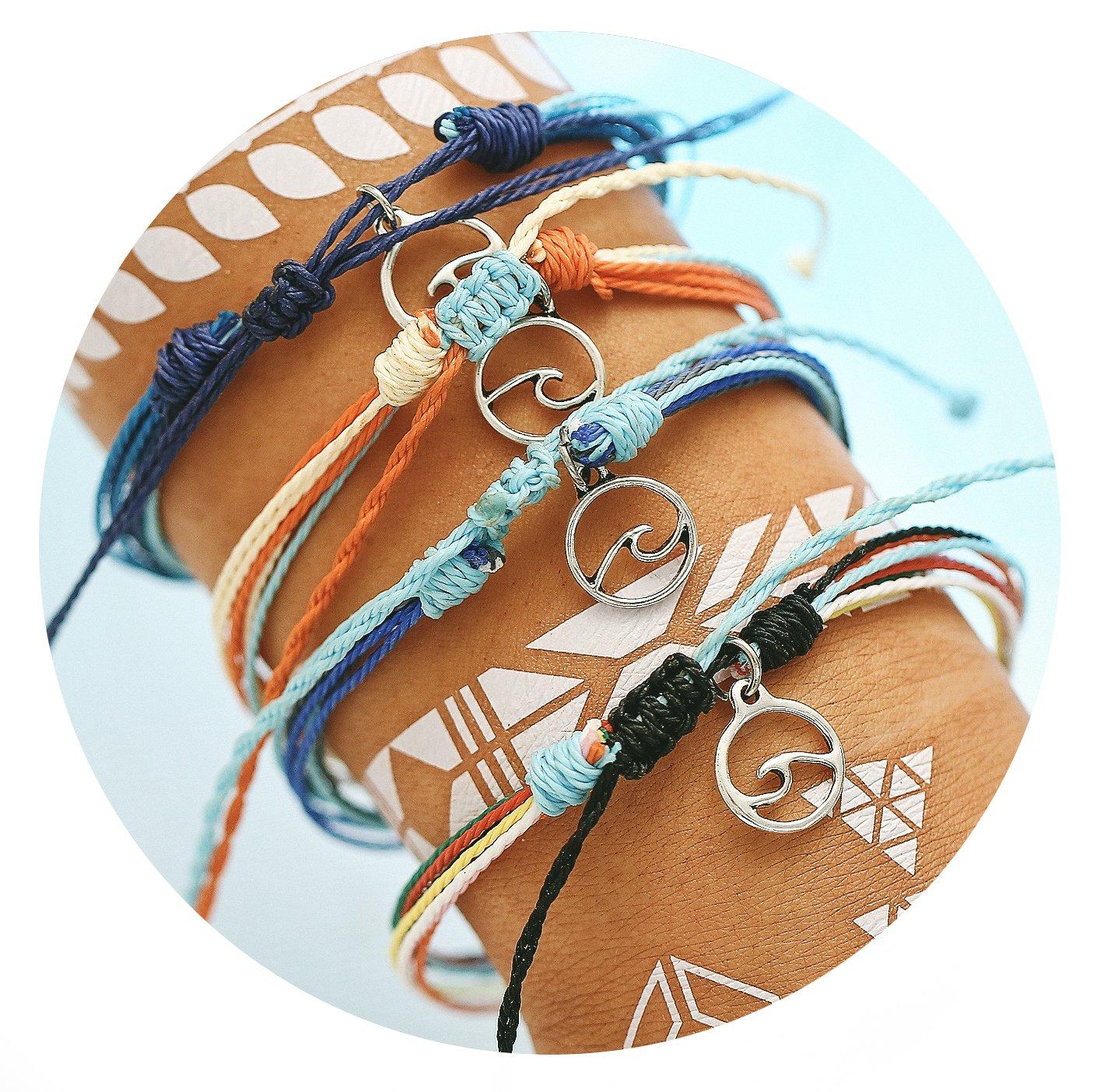 17mile Wave Braided Rope Bracelet Set Handmade Waterproof Wrap Bracelet for Woman Kids