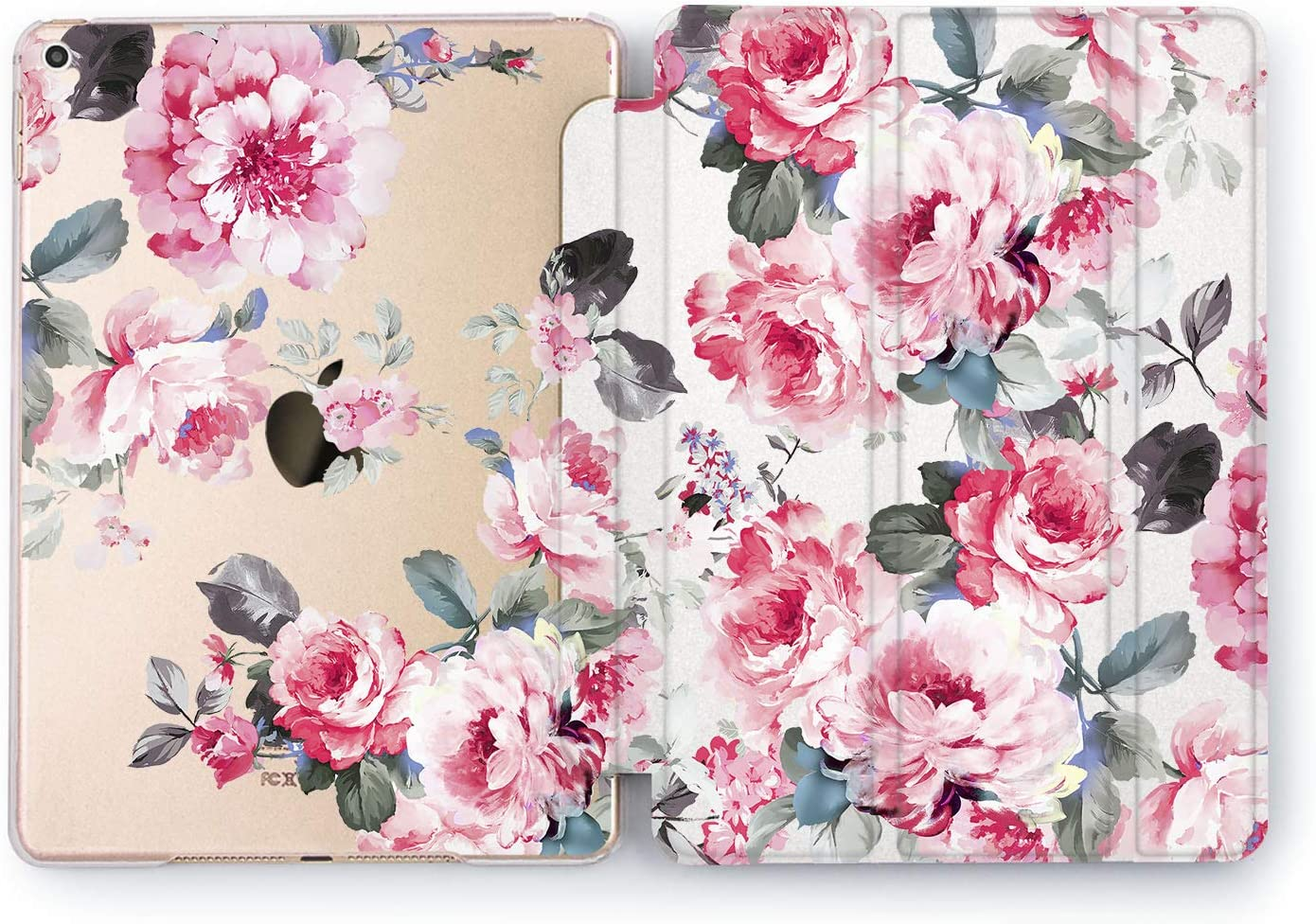 Wonder Wild Case Compatible with Apple iPad Peonies Cover Pro 9.7 inch Flowers Mini 1 2 3 4 Red Colorful Floral Air 2 10.5 12.9 Painted Cute Plastic Stand 5th 6th Generation 10.2 11 Bright