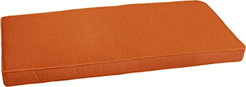 Mozaic AZCS1061 Indoor or Outdoor Sunbrella Bench Cushion with Corded Edges and Tie Backs, 48 inches, Canvas Rust