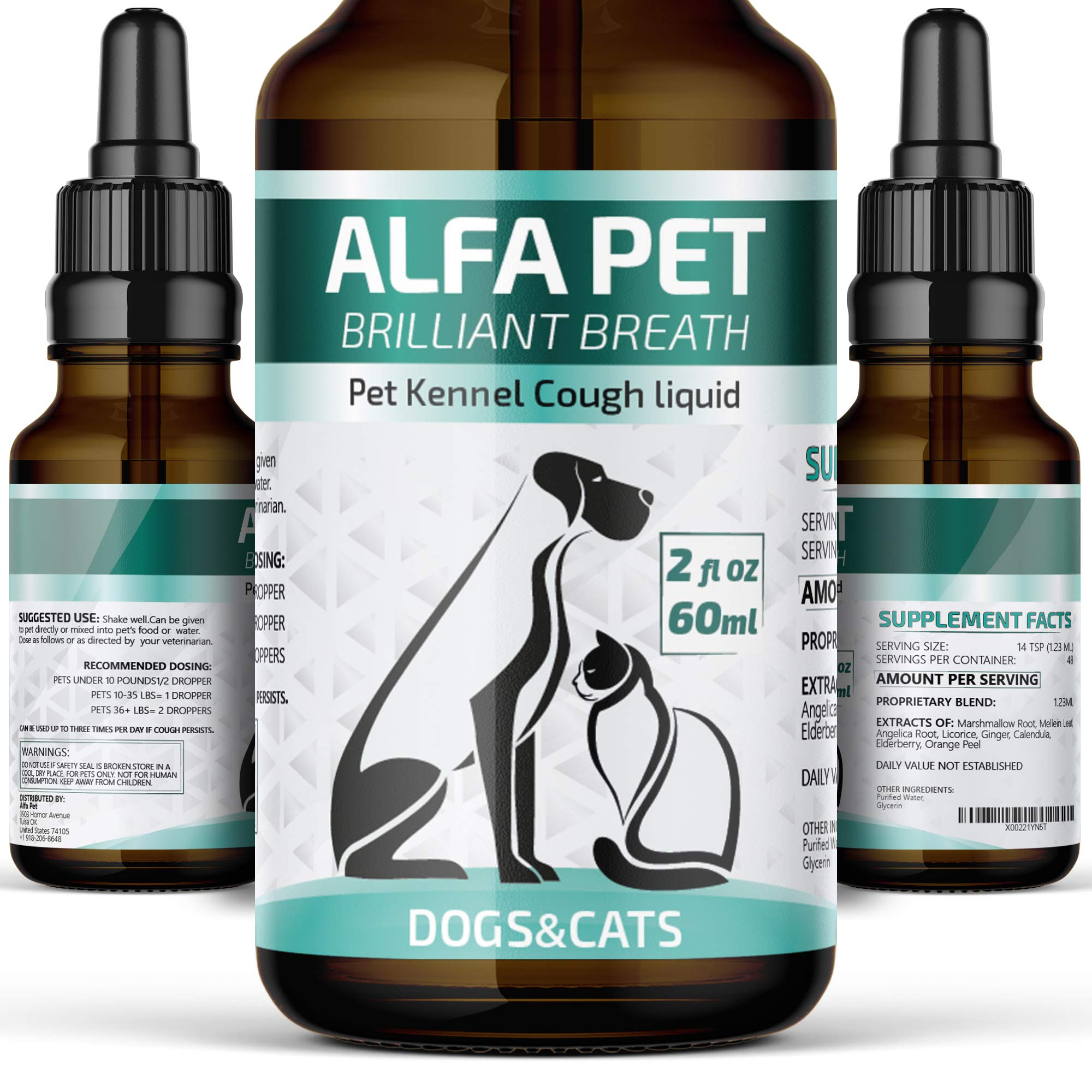 Kennel Cough Medicine for Dogs, Organic Dog Cough Medicine for Colds and Allergies - Natural Kennel Cough Treatment with Mullein Leaf and Elderberry by Alfa Pet
