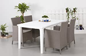 Rattan Garden 4 Seater Dining Set in Brown and White