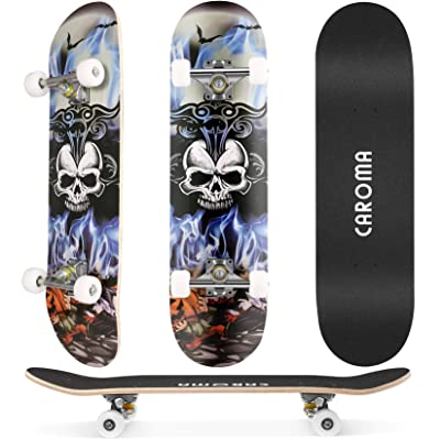 7 Layer 31 x 8 Complete Canadian Maple Concave Kick Stunts Skate Boards for Sports and Outdoors,Black Skateboard-Standard Skateboards for Kids Boys Girls Youths Beginners Starters