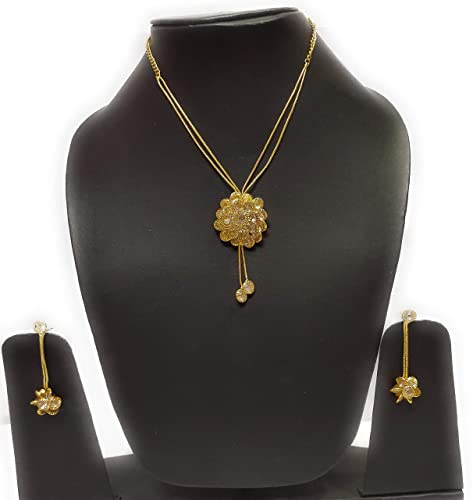 Buy Kanojia Collections Gold Plated Flower Design Pendant Set With