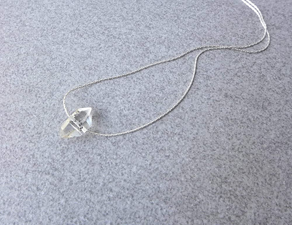 quality made quartz herkimer pendant natural stone one of a kind raw stone sterling silver biterminated quartz handmade