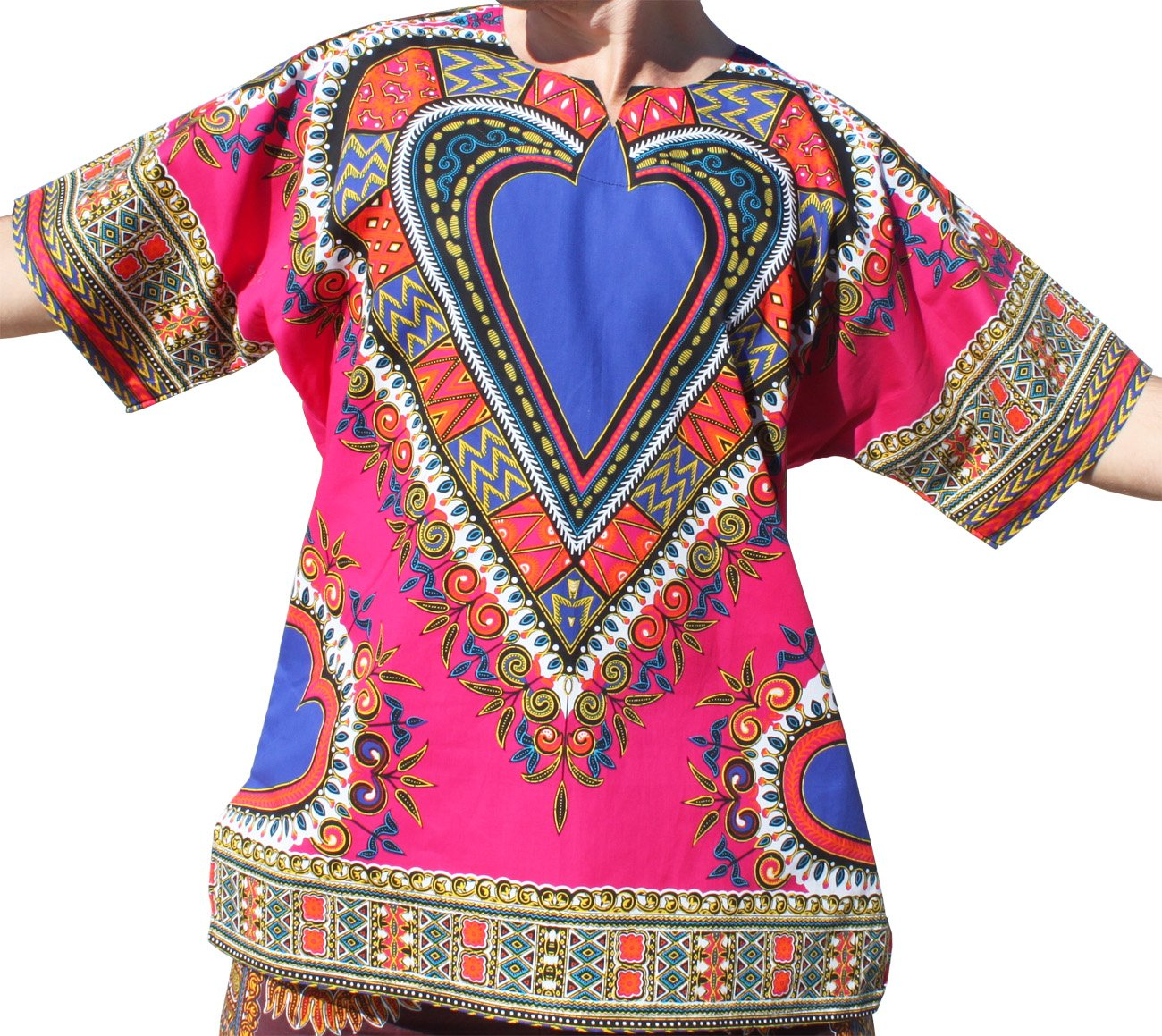 RaanPahMuang Bright Heart Cotton Africa Dashiki Plus Sized Shirt Plain Front, XXXXX-Large, Pink by RaanPahMuang
