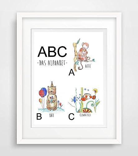 Abc Alphabet Für Kinder Mädchen Jungen Zimmer Baby Spruch