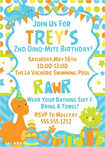 Baby Dinosaur Birthday Party Invitations