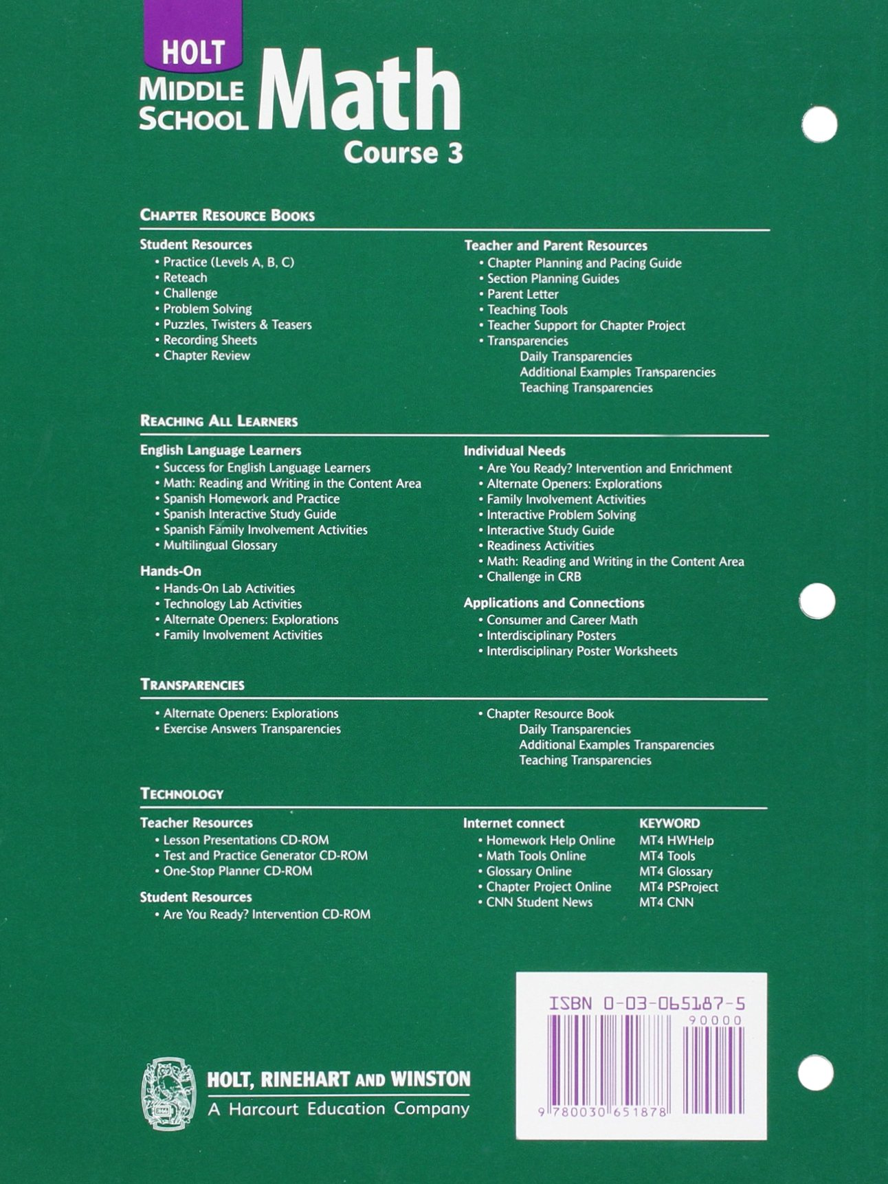 Holt Mathematics: Math Reading and Writing Course 3: Amazon.co.uk ...