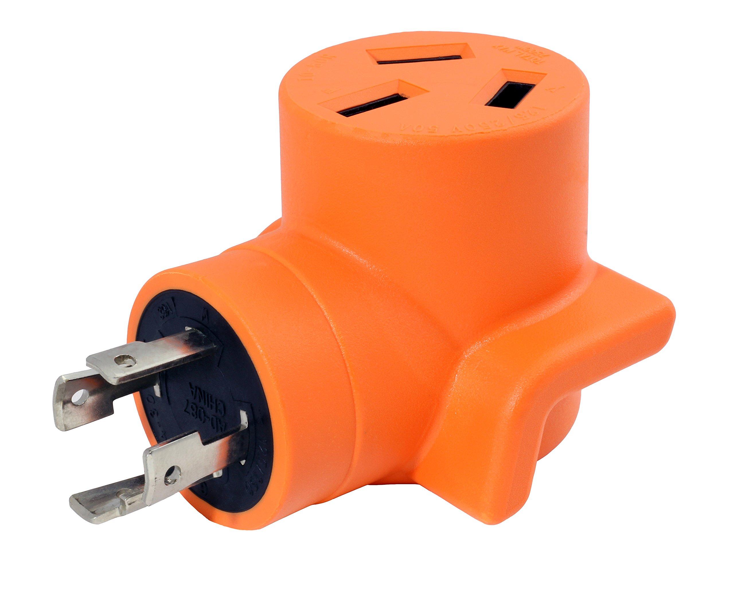 AC WORKS [WDL14301050] 30Amp 4-Prong L14-30P Generator Locking Plug to 10-50R 50Amp 125/250Volt Welder adapter